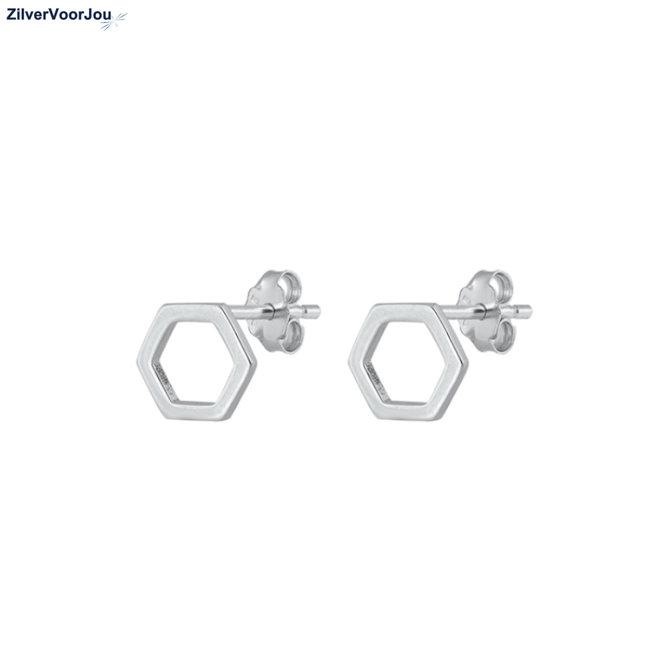 Zilveren hexagon oorstekers