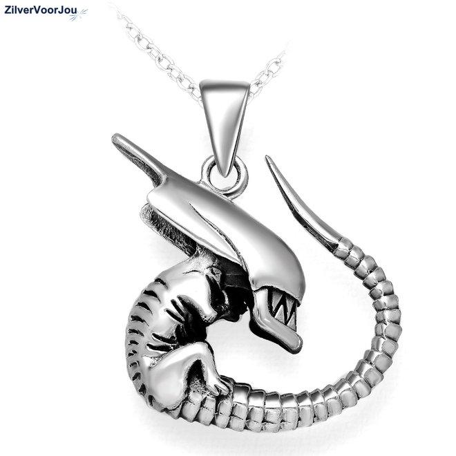 Zilveren Alien kettinghanger