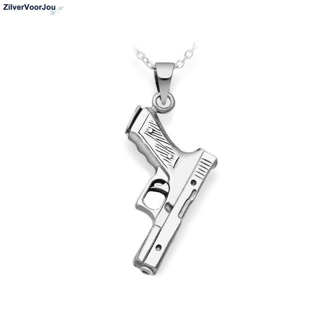 Zilveren Glock gun kettinghanger