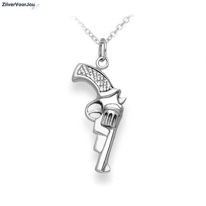 Zilveren revolver gun kettinghanger