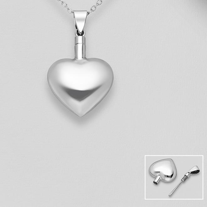 Zilveren bol hart ashanger