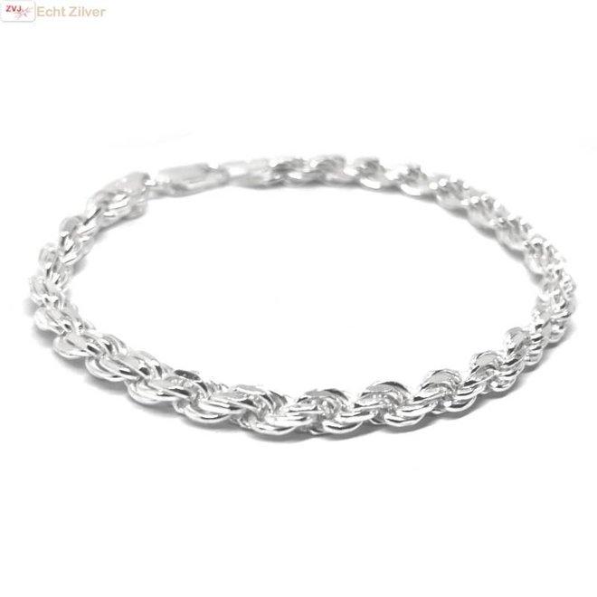 Zilveren rope schakel armband 18 cm 5 mm breed