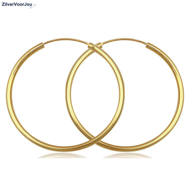Gouden oorringen ronde buis 90 x 2 mm groot