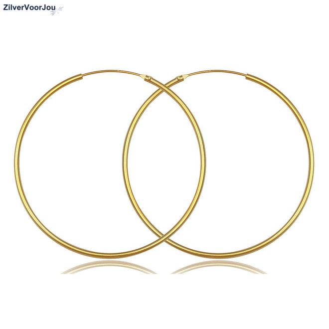 925 zilveren geel goud vergulde oorringen 80 x 1.5 mm groot