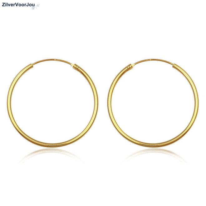 Gouden oorringen ronde buis 40 x 1.5 mm