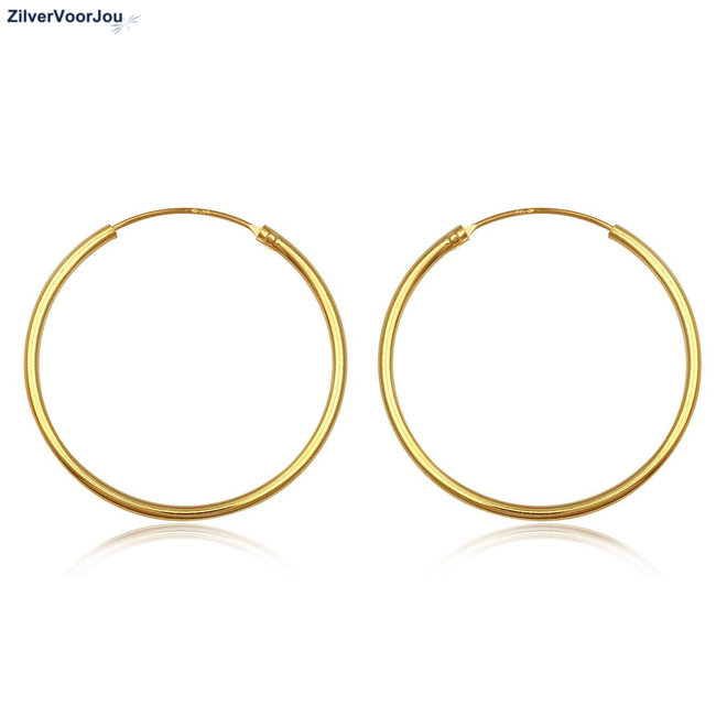 925 zilveren geel goud vergulde oorringen 40 x 1.5 mm