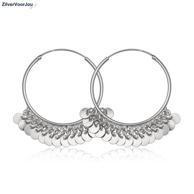 Zilveren bohemian oorringen