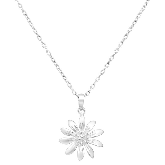 Zilveren bloem met pollen kettinghanger