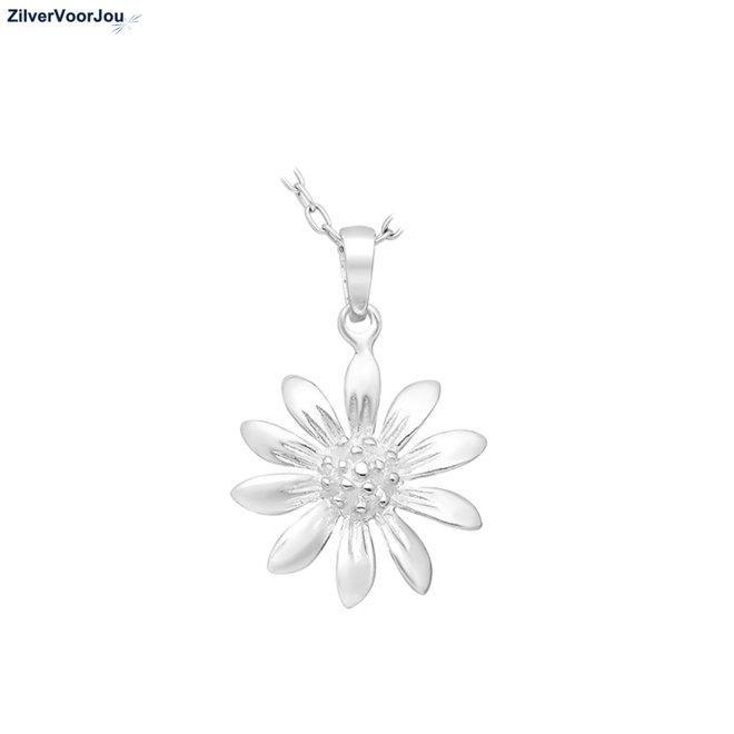 Zilveren bloem kettinghanger