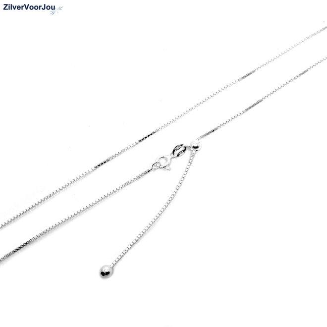 Zilveren box ketting verstelbaar 50 cm