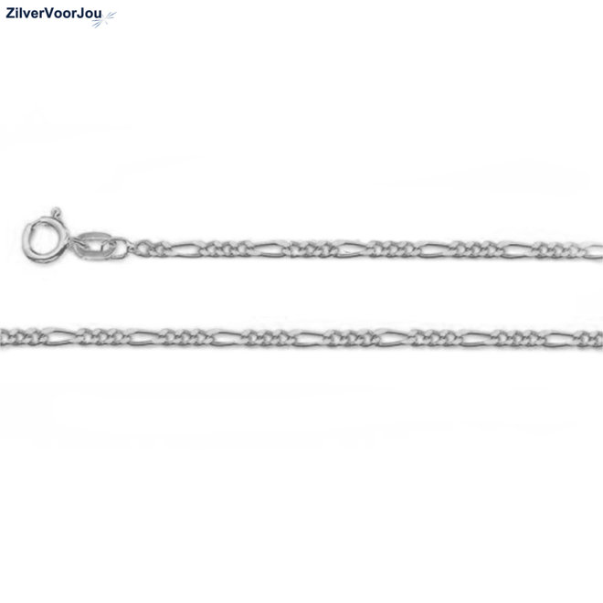 Zilveren figaro schakel ketting 40 cm 2.3 mm breed