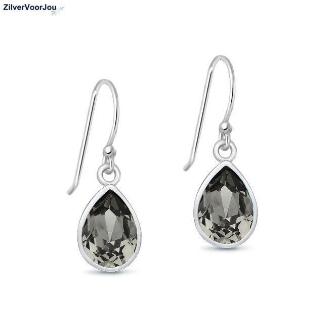 Zilveren black diamond Swarovski druppel oorhangers