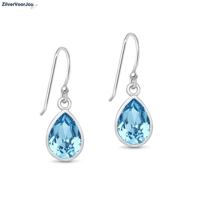 Zilveren aqua blauw Swarovski druppel oorhangers
