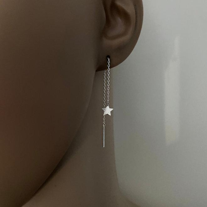 Zilveren ster doorhaalboorbellen