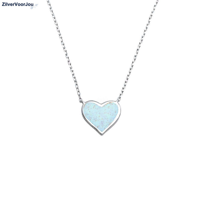 Zilveren wit opaal hart ketting