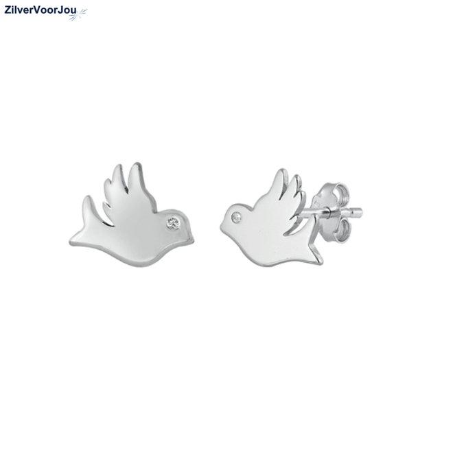 Zilveren duif oorstekers