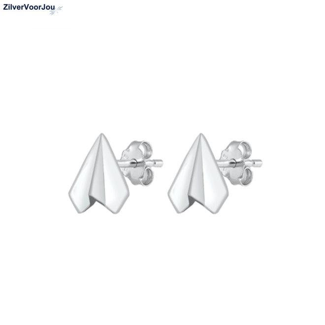 Zilveren paper airplane studs