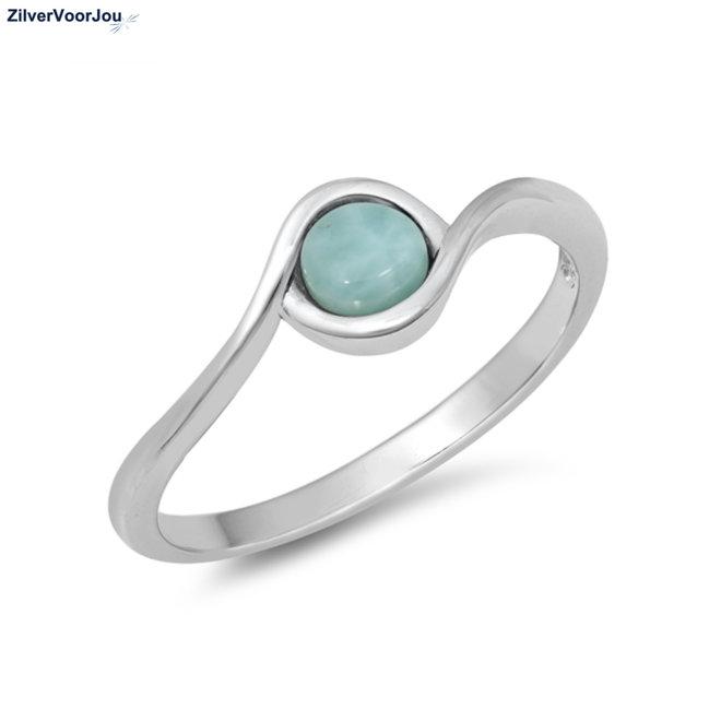 Zilveren larimar oog ring