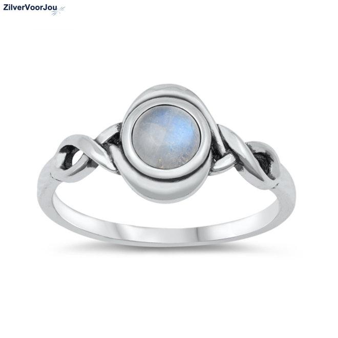 Zilveren celtic maansteen ring