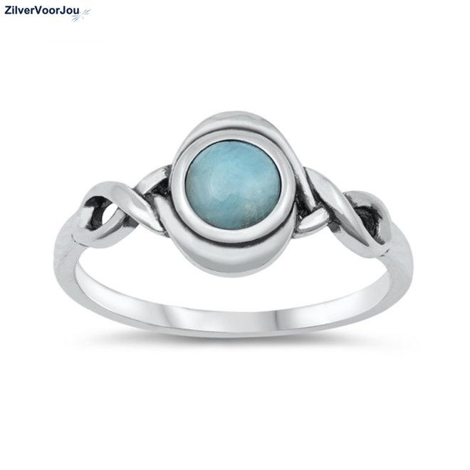 Zilveren celtic larimar ring