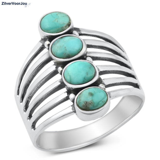 Zilveren grote turkoois ring 4 stenen