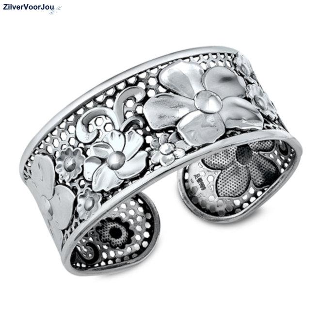 Zilveren 25 mm brede bloem klemarmband