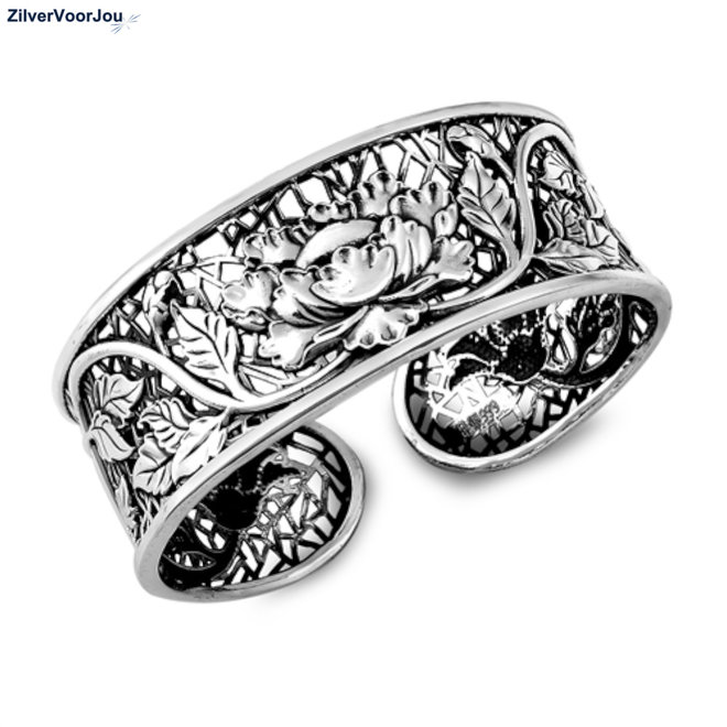 Zilveren 22 mm brede lotus klemarmband