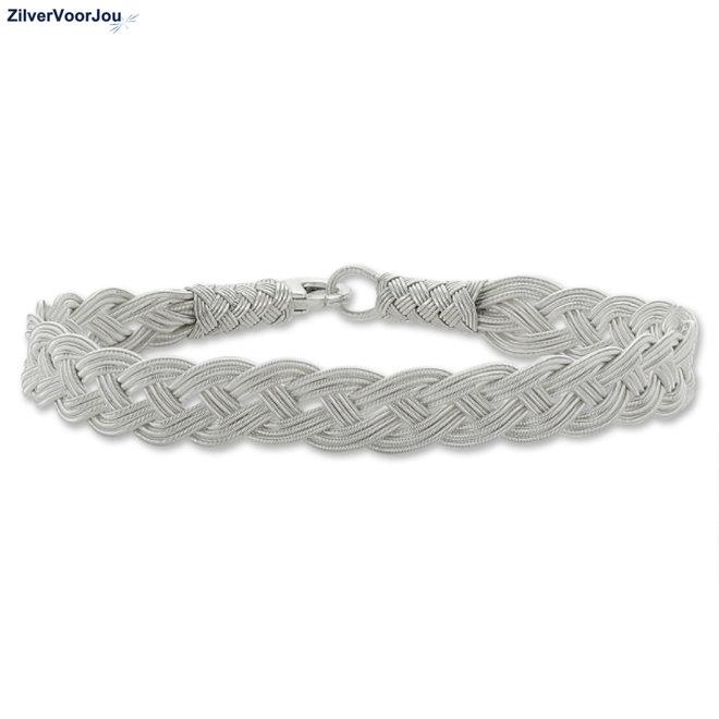 Zilveren hand gevlochten zilveren armband
