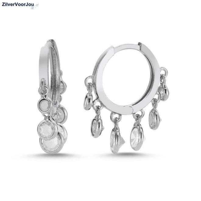 Zilveren huggie hoops 6 charms