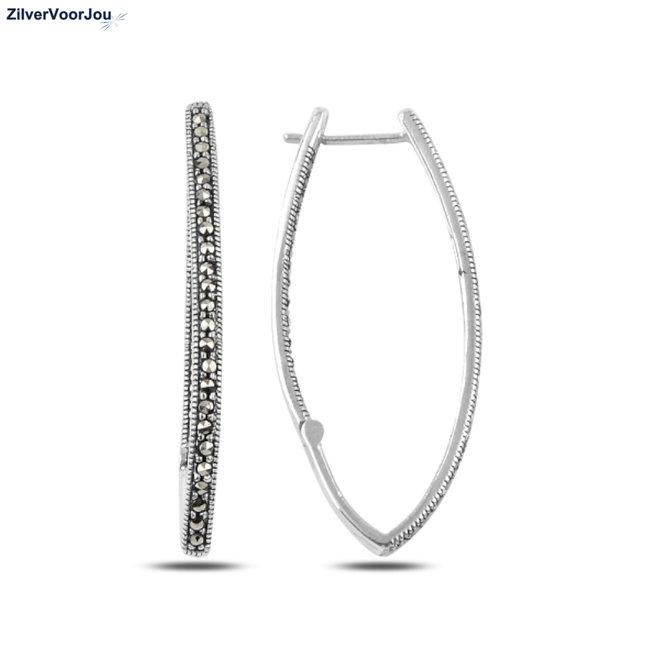 Zilveren ovale marcasiet oorringen