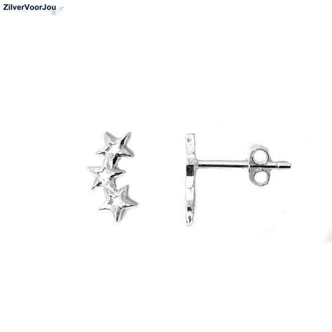 Zilveren 3 sterretjes oorstekers