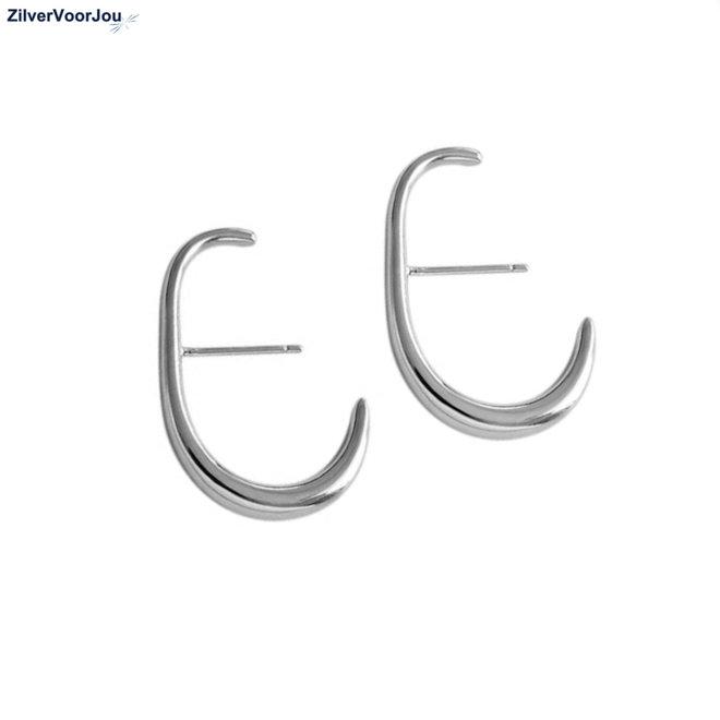Zilveren dulcet oorstekers rhodium