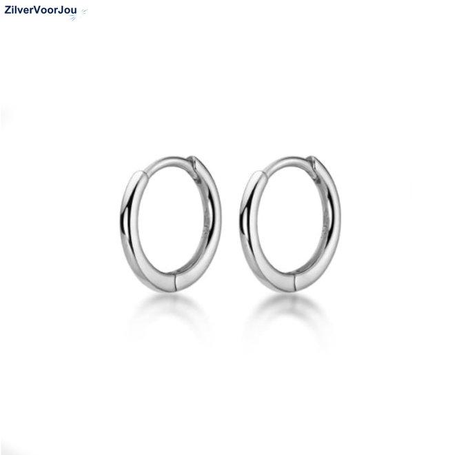 Zilveren huggie hoops 13 mm rhodium