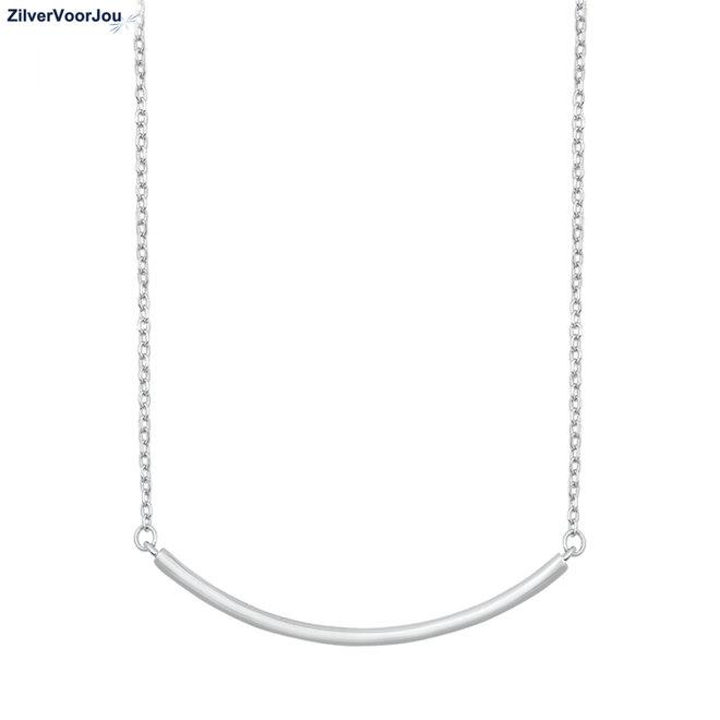 Zilveren gebogen bar ketting
