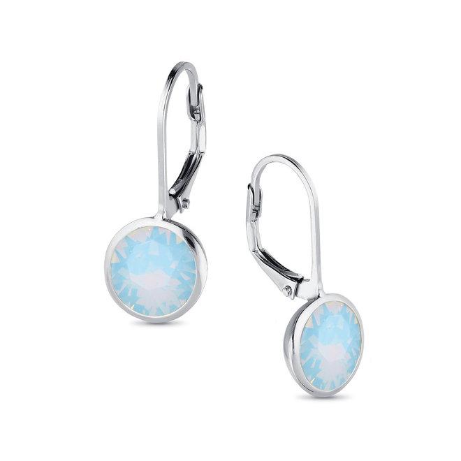 Zilveren air blue opaal ronde leverback Swarovski oorhangers