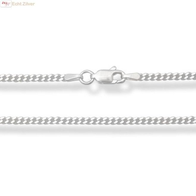 Zilveren gourmet ketting 50 cm lang 2 mm breed