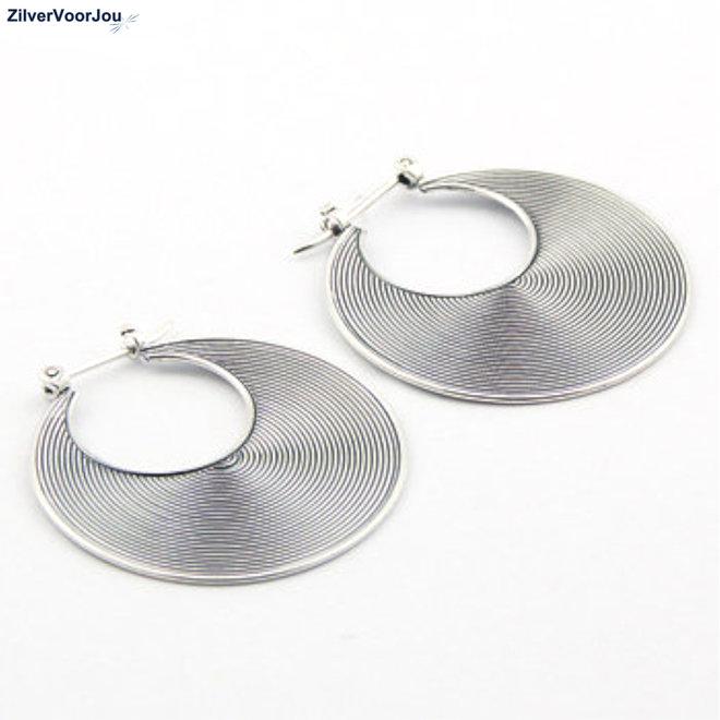 Zilveren Balinese oorringen 32 mm
