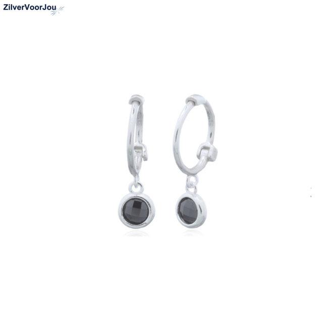 Zilveren mini huggie hoops black zirkoon