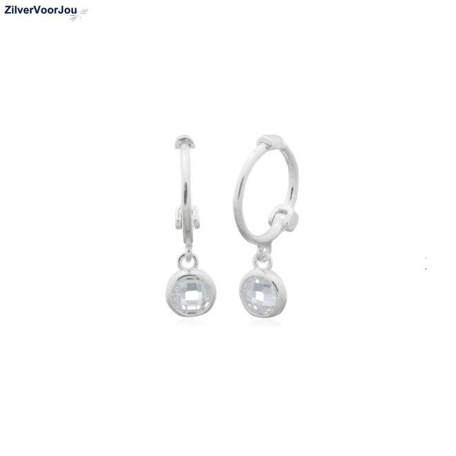 Zilveren mini huggie hoops white zirkoon