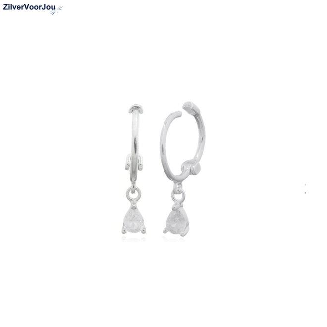 Zilveren mini huggie hoops white teardrop
