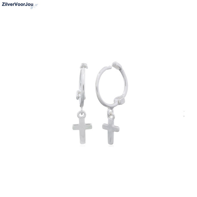 Zilveren mini huggie hoops cross