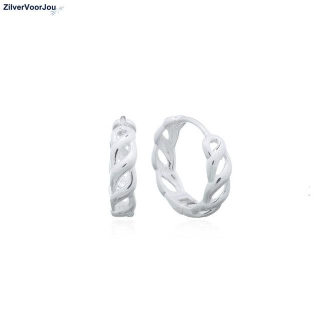 Zilveren kabel huggie hoops