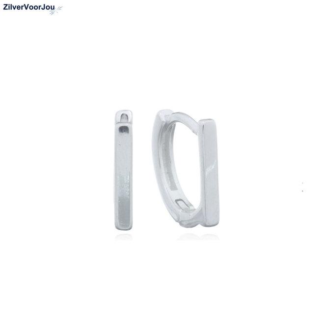Zilveren staaf huggie hoops