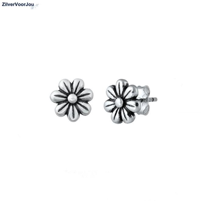 Zilveren bloem oorstekers oxide
