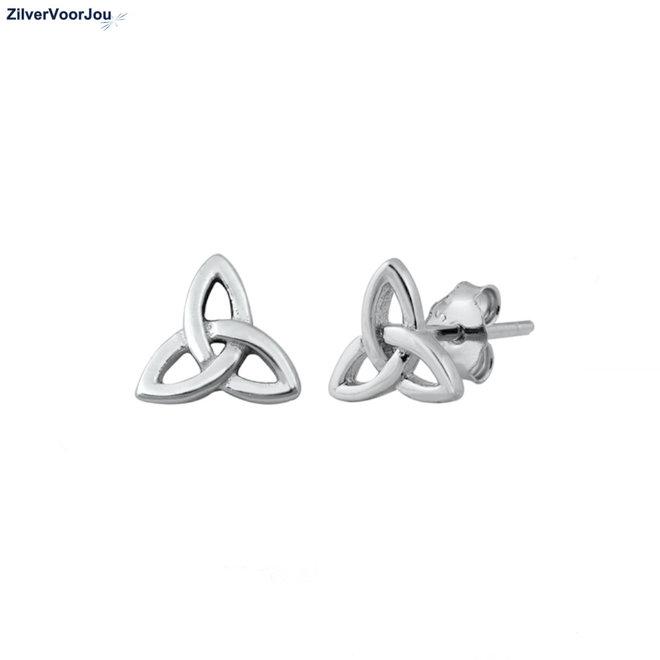 Zilveren Keltische trinity knot oorstekers