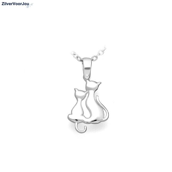Zilveren 2 poezen ketting