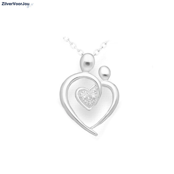 Zilveren moeder dochter hart hanger met hart zirkoon
