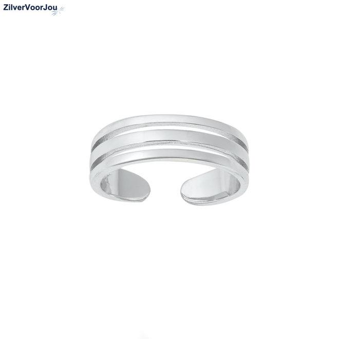 Zilveren 3 lijnen teenring