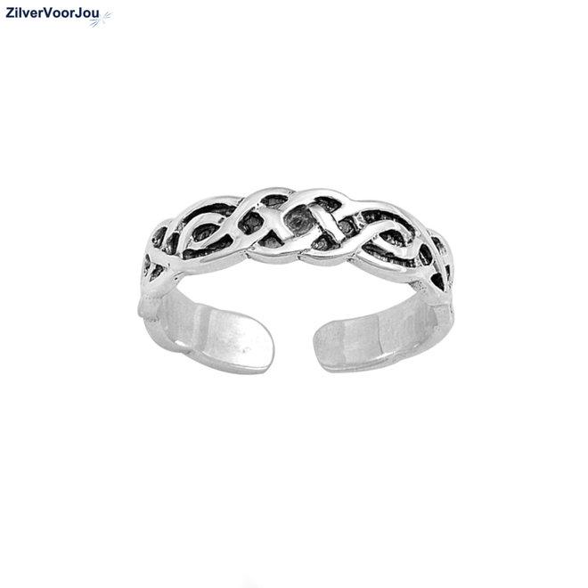 Zilveren Keltische teenring