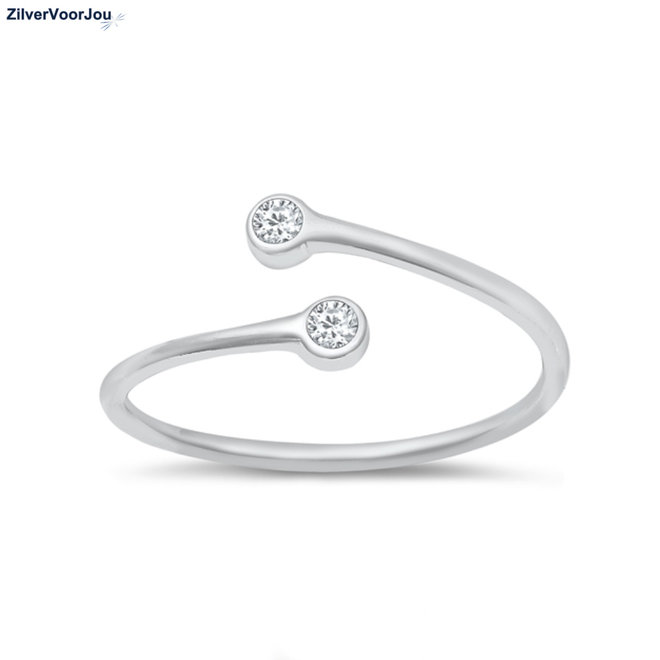 Zilveren double solitair ring rhodium